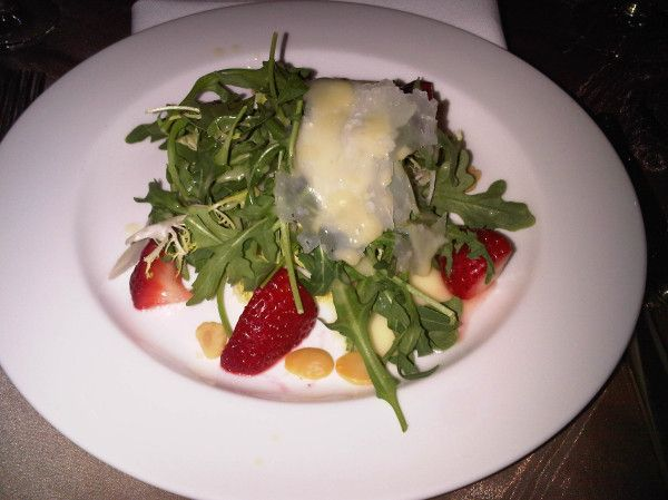 ... arugula, strawberries, Marcona almonds, Parmesan & Meyer lemon