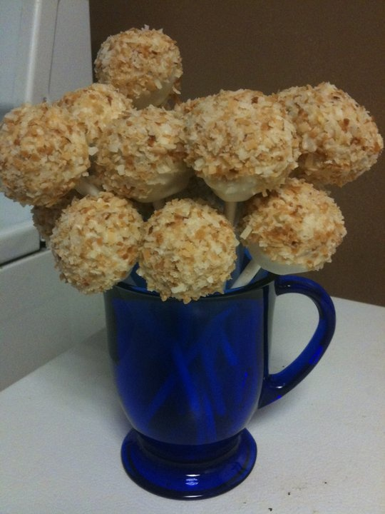 Pina Colada Cake Pops with Toasted Coconut...