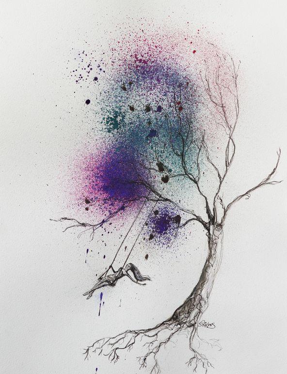 "Saatchi Online Artist: Sara Riches; Pen and Ink, 2013, Drawing ""Free Spirit"""