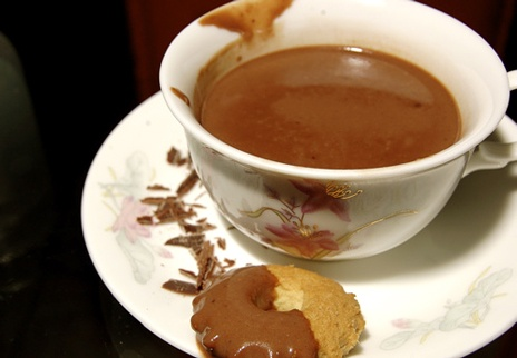 homemade coconut hot chocolate, mmm. i can barely drink swiss miss ...