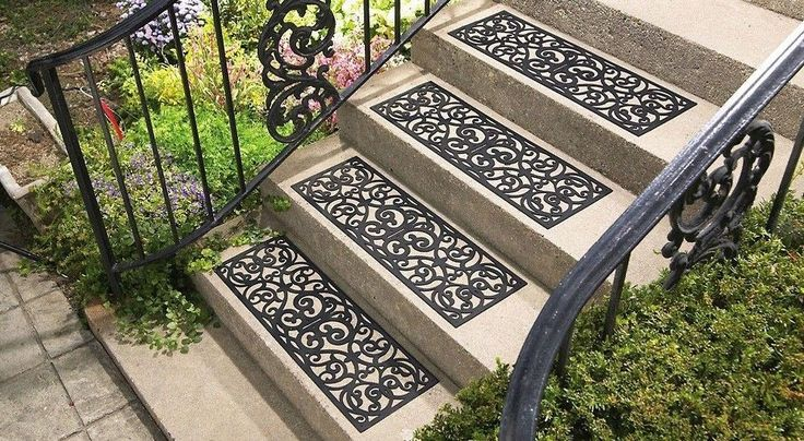 Best Set Of 4 Butterfly Scroll Pattern Black Rubber Outdoor 400 x 300