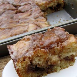 Cinnamon Roll Cake.   so scrumptious and easier than cinnamon rolls!