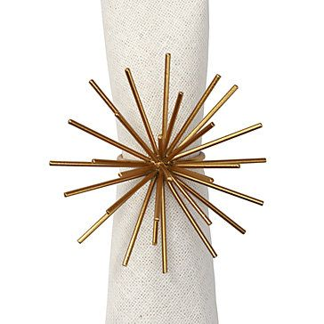 Spike Napkin Ring, Gold, Napkin Rings, Tableware, Z Gallerie, Akin to a sculptural piece of art, the Spike Napkin Ring offers a modern detail to chicly embellish your table. Designed after our Spike Plaque, our Spike Napkin Ring brings dramatic impact to your tabletop.  Distinctively cast out of iron and finished in a lustrous gold hue, our Spike collection adds layers of luxe to any interior.