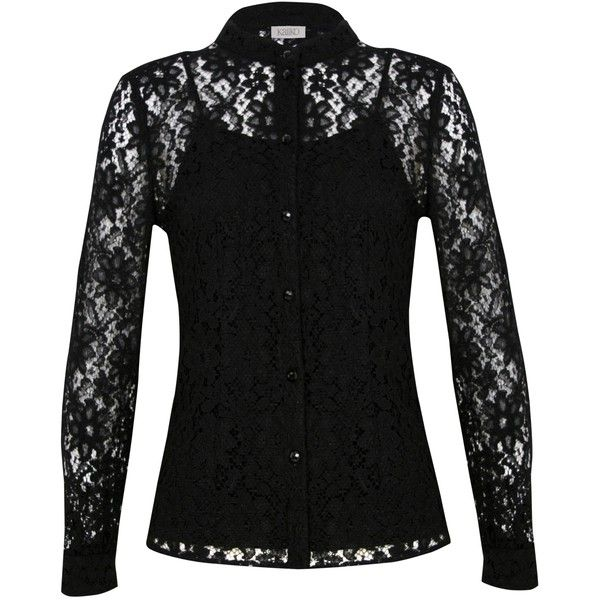 Black Lace Blouse Long Sleeve - Tie Blouse