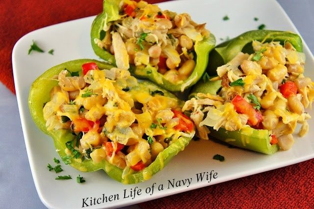 ... Kitchen Life of a Navy Wife: Chicken and White Bean Stuffed Peppers