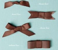 Different kinds of bow tying techniques for card-making and scrapbooking.