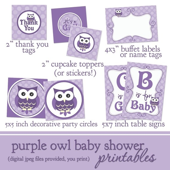 purple owl baby shower printable decorations by lilsproutgreetings