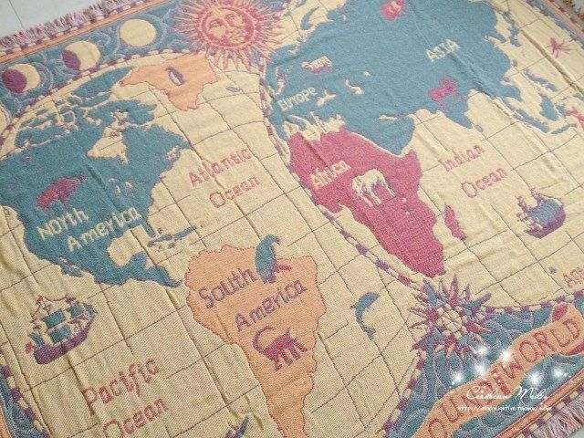 Vintage world map blanket youcustomizeit watercolor old geography map bedding etsy gumiabroncs Gallery