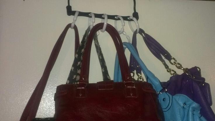 "Curtains Ideas shower curtain hangers : Wonder hanger"" and shower curtain to rings to hang purses"