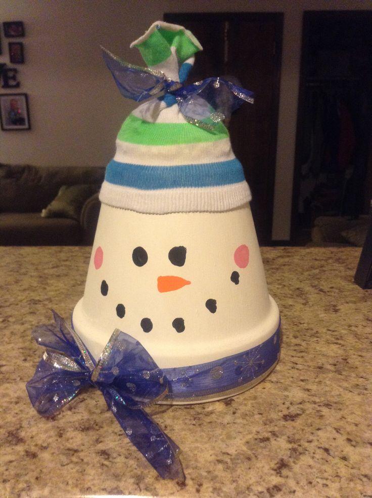DIY terra cotta pot snowman. | Terra Cotta Pots | Pinterest