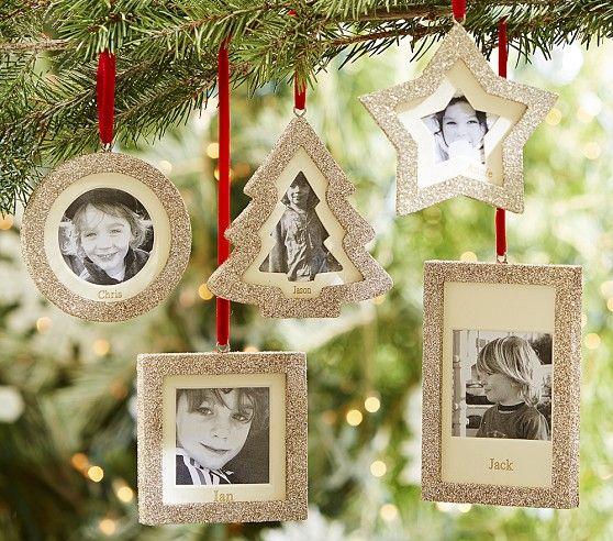 glitter frame ornaments christmas pinterest