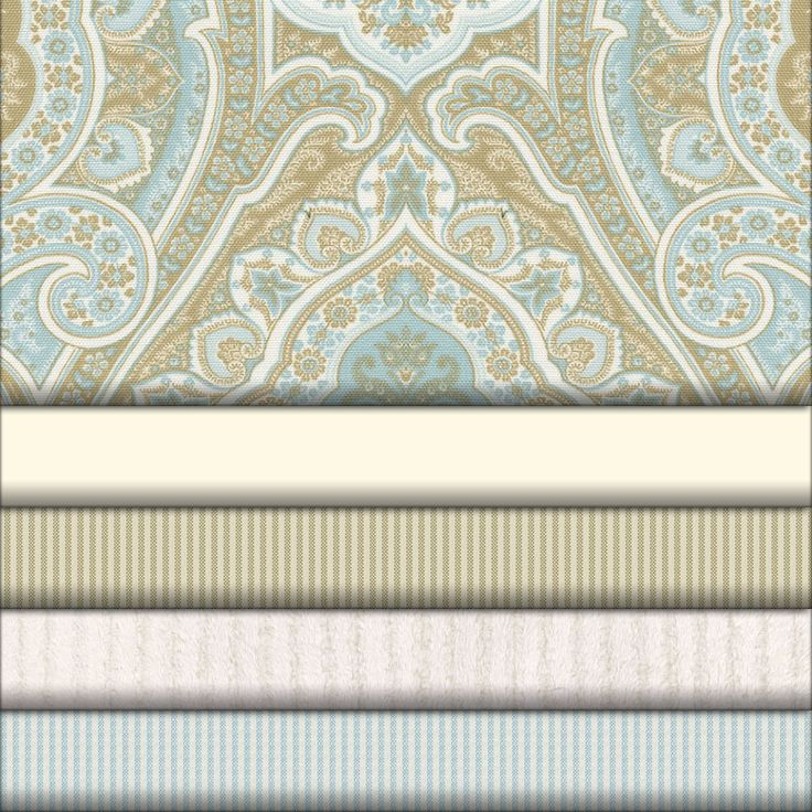 Blue and Taupe Paisley Fabric Collection #carouseldesigns