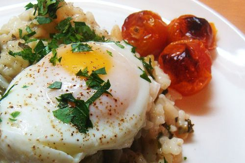 Asparagus risotto an poached egg | Favorite Recipes | Pinterest