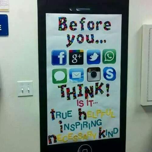 Social media etiquette poster. A good one for middle school classroom.  Character education