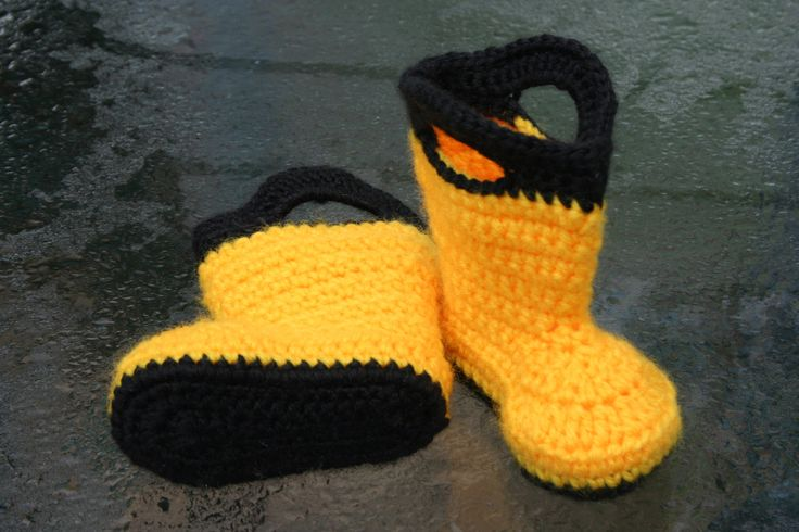 Free Crochet Patterns Baby Rompers : Baby Rain Boots - Handmade Crochet Yellow and Black