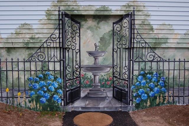 Exterior garden mural renee macmurray murals pinterest for Exterior wall mural