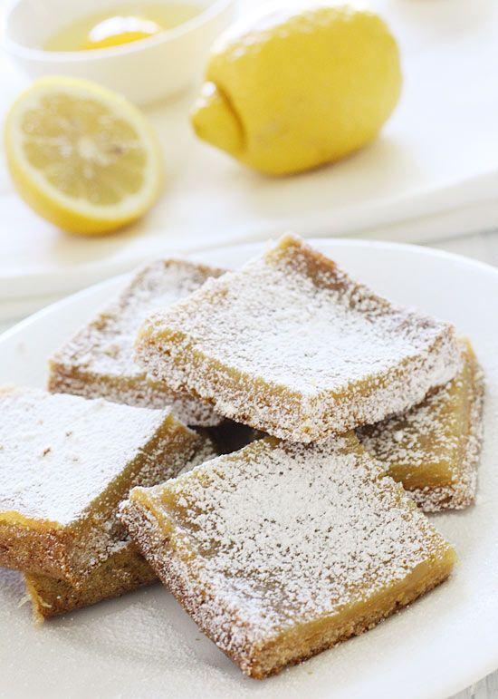 Skinny Honey Lemon Bars | Skinnytaste | 170 cals per bar (1/9 of ...