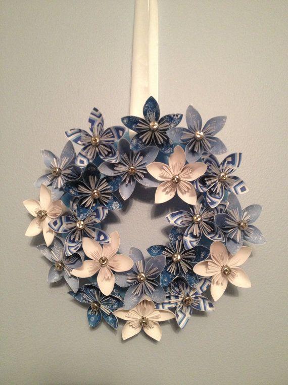 Blue origami kusudama christmas paper flower by kreationsbykia 32 00