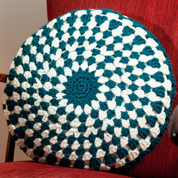 Crocheted Round Cushion Cover in Teal and Cream