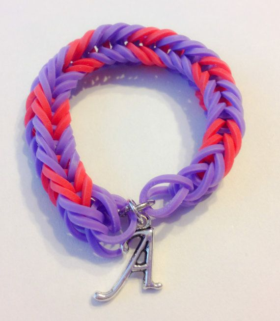 rainbow loom fishtail rubber band bracelet with letter