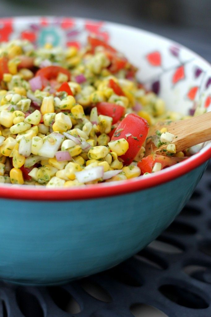 Charred Corn Salad with Basil Vinaigrette - A Hint of Honey