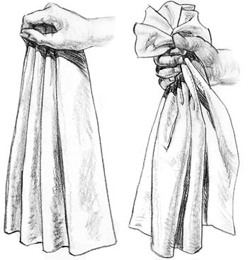 dibujar manos agarrando trapo