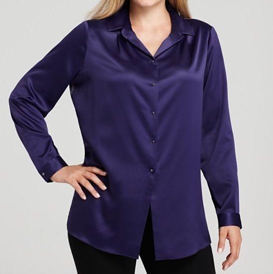 Tahari Woman Plus Jaden Blouse 2x Purple Printed Back Plum Blossom NWT
