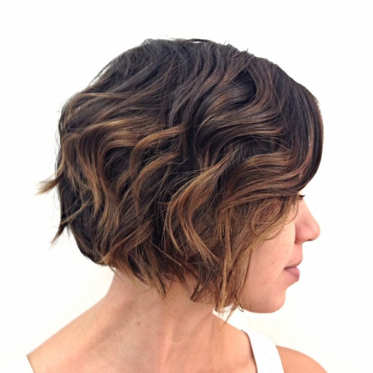 Brunette highlights short hair