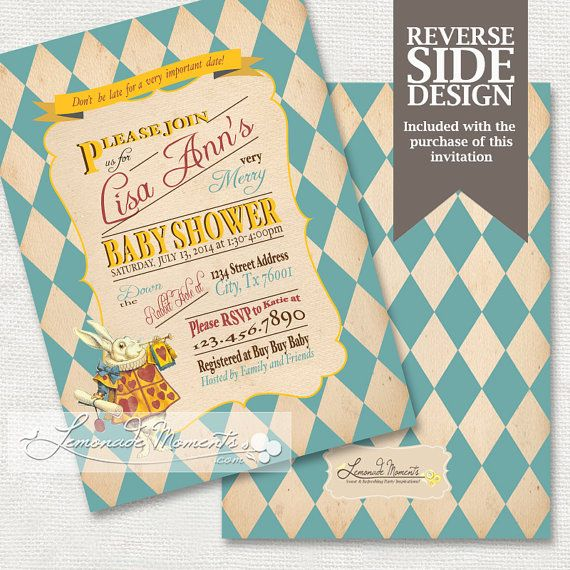 alice in wonderland baby shower invitation mad hatter tea party p