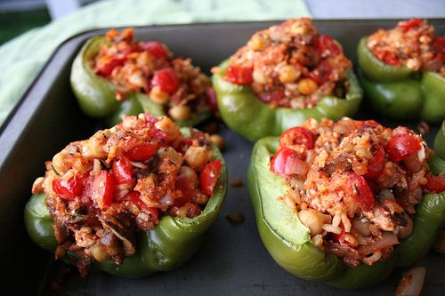 Brown Rice and Chickpea stuffed green peppers (for dad)