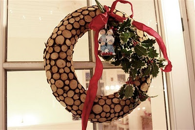 ,Christmas wreath made from wood chips