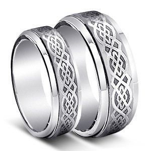 8mm 6mm tungsten carbide wedding band ring set w laser etched celtic