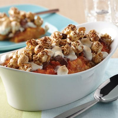Sweet Potato Casserole with Bacon Streusel, Marshmallows & Caramel ...