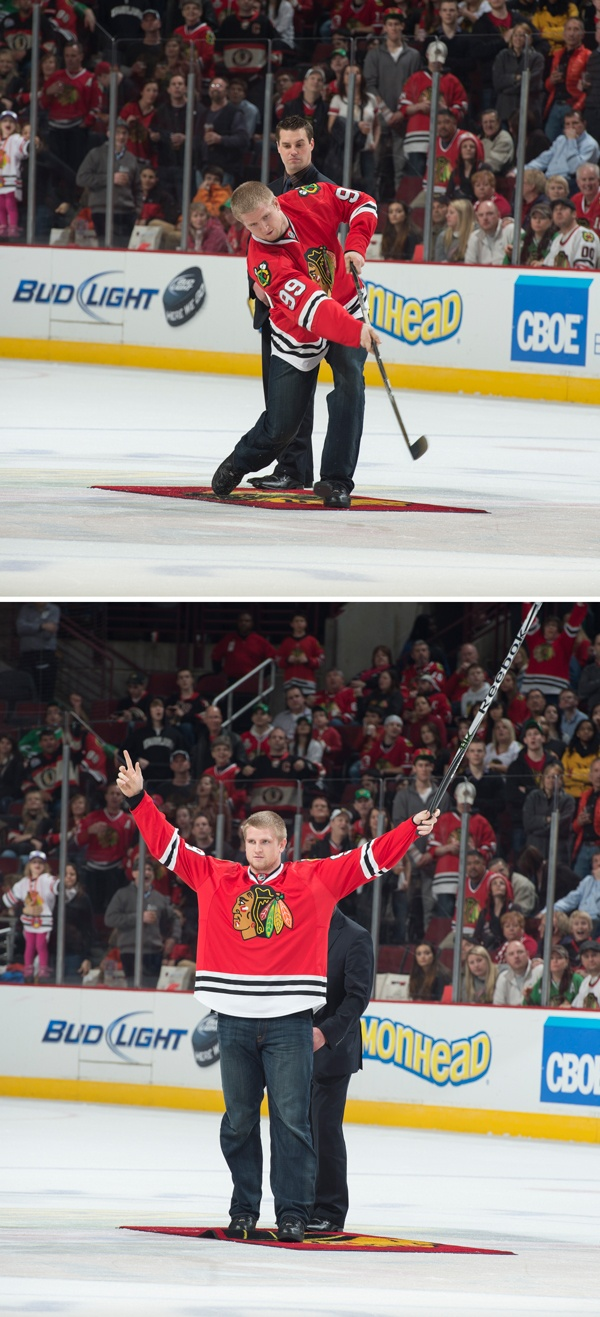 """He shoots... He scores! Chicago's Shea McClellin """"Bears Down"""" and shoots the puck."""