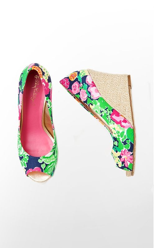 Lilly Pulitzer Resort Chic Wedge Printed,  floral peep-toe, $218.00