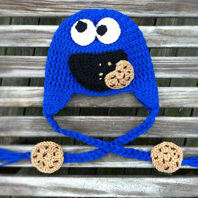 Monster Hat Knitting Pattern : Cookie monster hat by Mama Keen Crochet on Facebook Crochet and Craft Ideas...