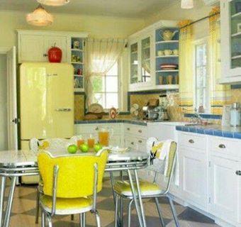 Cheery Yellow White Blue Kitchen Vintage Kitchen