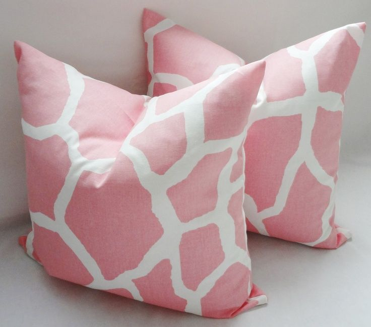 Baby Pink Decorative Pillows : Pink & White Giraffe Nursery Baby Girl Pillow Covers Throw Pillows De?
