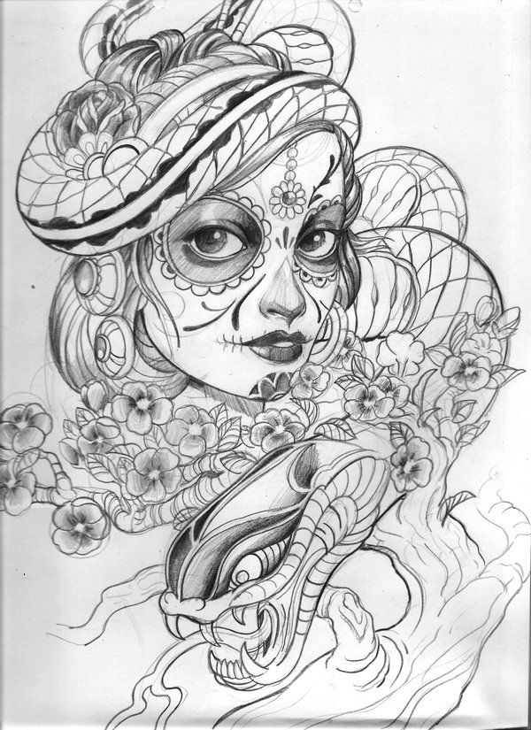 DeviantART More Like Day Of The Dead Gypsy Tattoos Drawings