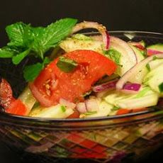 Cucumber, Tomato and Red Onion Salad with Mint