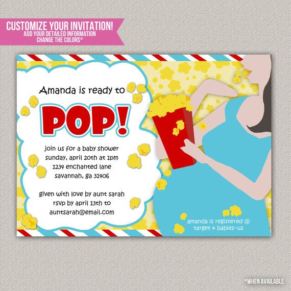 ready to pop baby shower invitation custom baby shower invitation