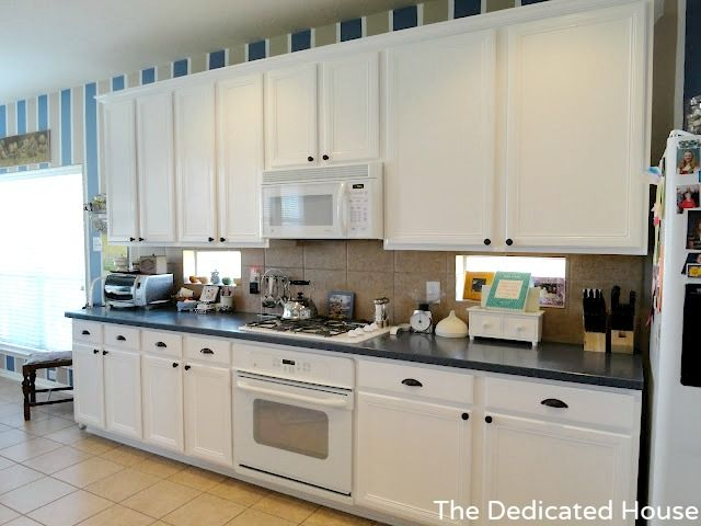 How to paint builder grade oak cabinets white - Builder grade oak kitchen cabinets ...