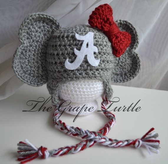 Free Crochet Pattern For Elephant Hat : Crochet Alabama Crimson Tide Baby Newborn Hat, Crochet ...