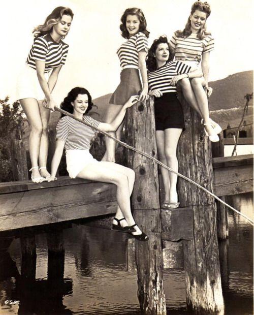 Striped Shirts & Shorts #1940s #fashion #vintage