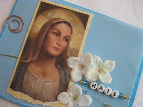 Hail Mary Full of Grace Handmade Card Catholic by CatholicCards, $3.29