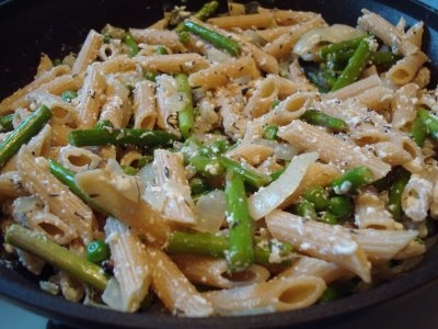 Penne with Ricotta, Asparagus and Peas Salt 1 1/4 pound thick ...