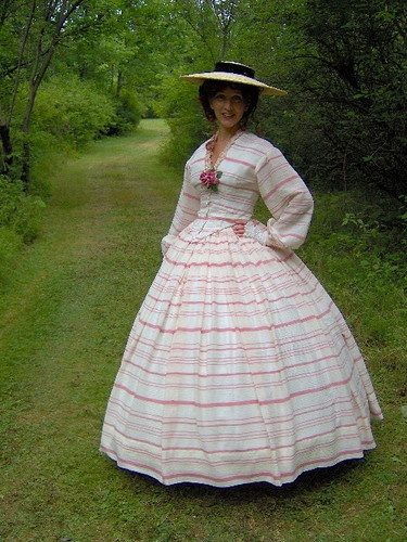 1800s Victorian Dress 1860s Civil War Sheer Cotton Day Gown Summer Skirt Bodice