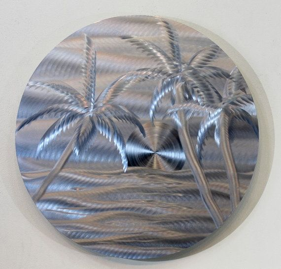 Tropical metal abstract painted circular wall art blue for Tropical metal wall art