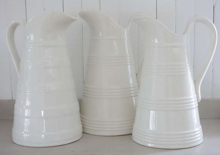 white ironstone pitchers