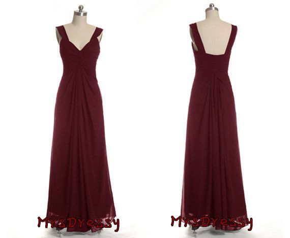 V neck open back wine colored pleated long bridesmaid for Wine colored wedding dresses